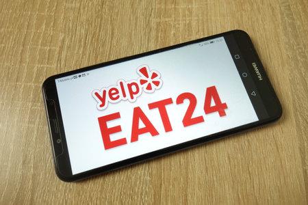 KONSKIE, POLAND - June 21, 2019: Yelp Eat24 logo displayed on mobile phone