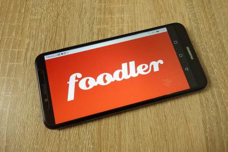 KONSKIE, POLAND - June 21, 2019: Foodler Inc company logo displayed on mobile phone