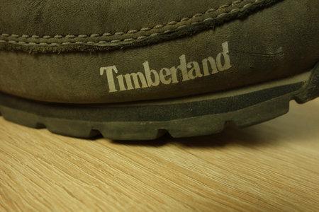 KONSKIE, POLAND - June 21, 2019: Timberland logo on shoes, closeup Redakční