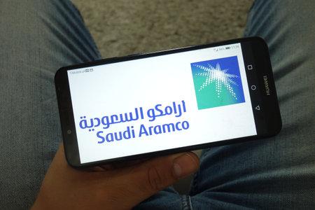 KONSKIE, POLAND - June 29, 2019: Saudi Aramco logo displayed on mobile phone