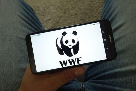 KONSKIE, POLAND - June 29, 2019: World Wide Fund for Nature - WWF logo displayed on mobile phone Redakční