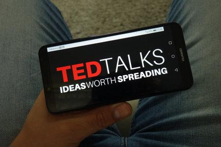 KONSKIE, POLAND - June 29, 2019: Ted Talks logo displayed on mobile phone Redakční