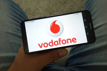 KONSKIE, POLAND - June 29, 2019: Vodafone company logo displayed on mobile phone Reklamní fotografie - 127812852