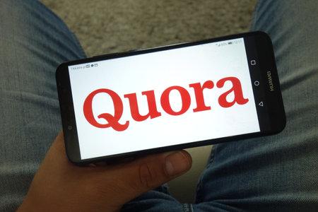 KONSKIE, POLAND - June 29, 2019: Quora logo displayed on mobile phone
