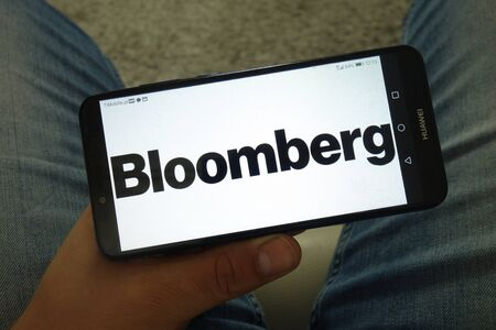 KONSKIE, POLAND - June 29, 2019: Bloomberg logo displayed on mobile phone Redakční
