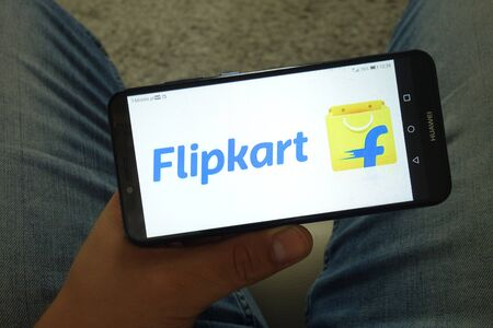 KONSKIE, POLAND - June 29, 2019: Flipkart Pvt Ltd logo displayed on mobile phone