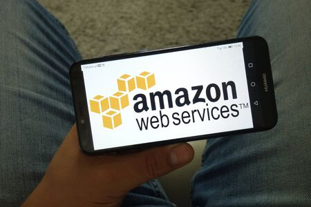 KONSKIE, POLAND - June 29, 2019: Amazon web services logo displayed on mobile phone