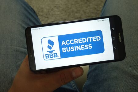 KONSKIE, POLAND - June 29, 2019: Better Business Bureau - BBB logo displayed on mobile phone Reklamní fotografie - 127812869