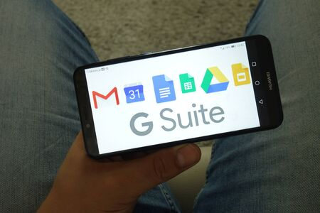 KONSKIE, POLAND - June 29, 2019: Google Suite including Gmail Calendar Docs Sheets Drive and Slides logos displayed on mobile phone Editorial