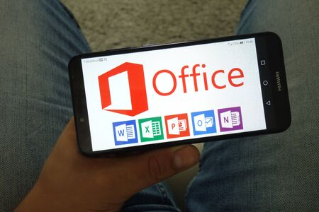 KONSKIE, POLAND - June 29, 2019: Microsoft Office including Word Excel PowerPoint Outlook and OneNote logos displayed on mobile phone