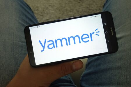 KONSKIE, POLAND - June 29, 2019: Yammer social networking service logo displayed on mobile phone