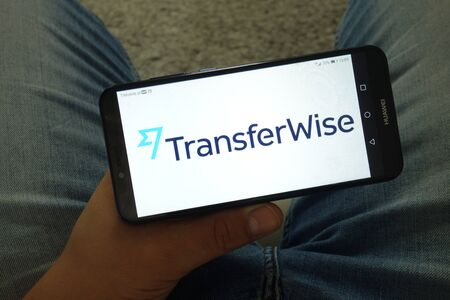 KONSKIE, POLAND - June 29, 2019: TransferWise money transfer service logo displayed on mobile phone Editorial