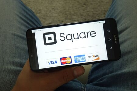 KONSKIE, POLAND - June 29, 2019: Square Inc company with Visa MasterCard American Express and Discover logos displayed on mobile phone Editorial