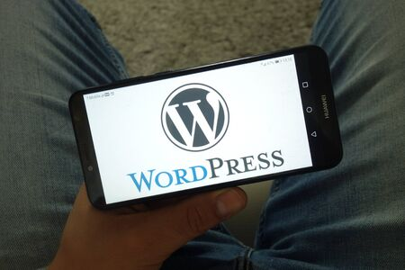KONSKIE, POLAND - June 29, 2019: WordPress content management system logo displayed on mobile phone Editorial
