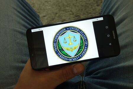 KONSKIE, POLAND - June 29, 2019: Federal Trade Commission - FTC logo displayed on mobile phone