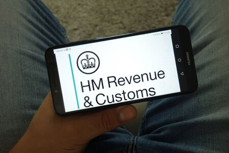 KONSKIE, POLAND - June 29, 2019: HM Revenue and Customs department logo displayed on mobile phone