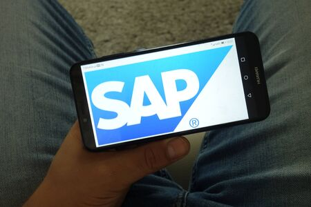 KONSKIE, POLAND - June 29, 2019: SAP Se software corporation logo displayed on mobile phone