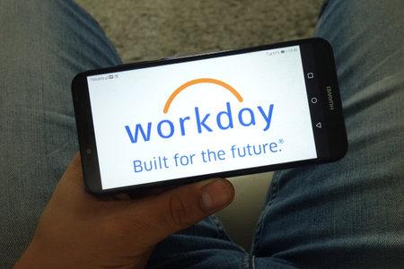 KONSKIE, POLAND - June 29, 2019: Workday Inc logo displayed on mobile phone Reklamní fotografie - 127812889