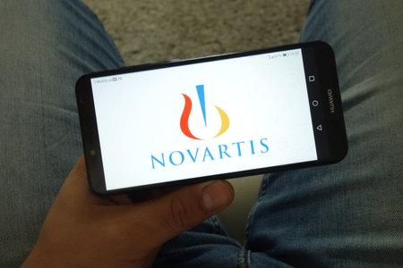 KONSKIE, POLAND - June 29, 2019: Novartis International AG company logo displayed on mobile phone