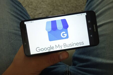 KONSKIE, POLAND - June 29, 2019: Google My Business service logo displayed on mobile phone