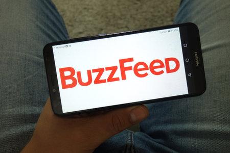 KONSKIE, POLAND - June 29, 2019: BuzzFeed Inc logo displayed on mobile phone