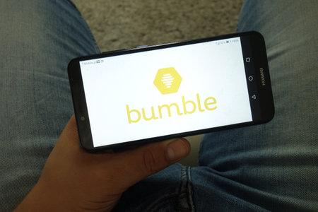KONSKIE, POLAND - June 29, 2019: Bumble dating application logo displayed on mobile phone Redakční