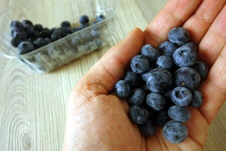 Male hand holding ripe fresh organic blueberries, closeup Reklamní fotografie