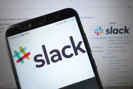 KONSKIE, POLAND - August 18, 2019: Slack logo displayed on mobile phone Redakční