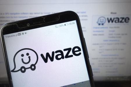 KONSKIE, POLAND - August 18, 2019: Waze app logo displayed on mobile phone