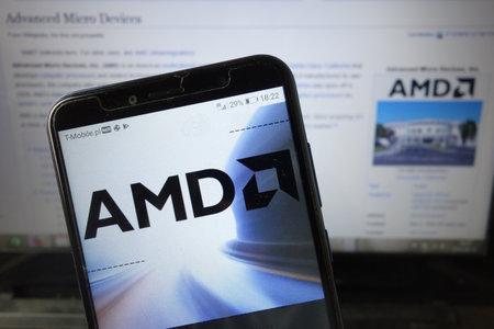 KONSKIE, POLAND - August 18, 2019: Amd company logo displayed on mobile phone Redakční