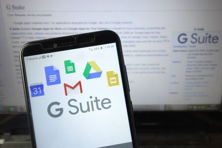 KONSKIE, POLAND - August 18, 2019: G Suite logo displayed on mobile phone