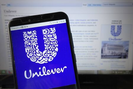 KONSKIE, POLAND - August 18, 2019: Unilever company logo displayed on mobile phone Redakční