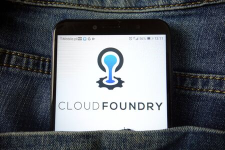 KONSKIE, POLAND - December 21, 2019: Cloud Foundry logo displayed on mobile phone