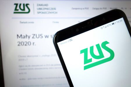 KONSKIE, POLAND - January 11, 2020: Zus logo displayed on mobile phone