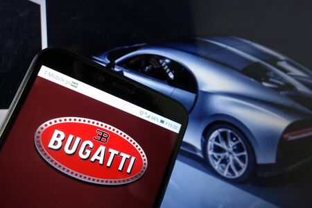 KONSKIE, POLAND - January 11, 2020: Bugatti Automobiles logo displayed on mobile phone