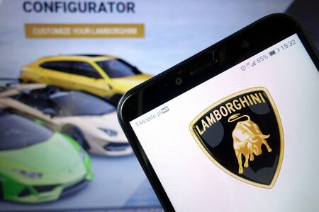 KONSKIE, POLAND - January 11, 2020: Automobili Lamborghini Spa logo displayed on mobile phone