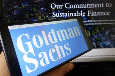 KONSKIE, POLAND - January 11, 2020: Goldman Sachs bank logo displayed on mobile phone Editorial