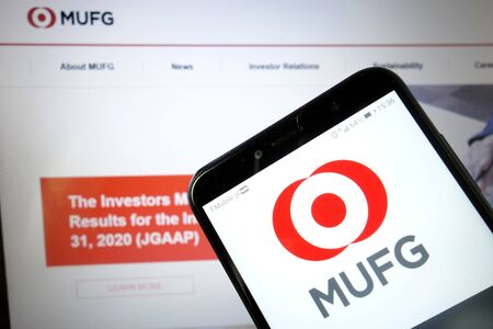 KONSKIE, POLAND - January 11, 2020: MUFG Bank logo displayed on mobile phone