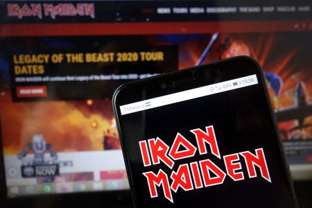 KONSKIE, POLAND - January 11, 2020: Iron Maiden band logo displayed on mobile phone Editorial