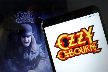 KONSKIE, POLAND - January 11, 2020: Ozzy Osbourne logo displayed on mobile phone