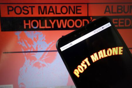 KONSKIE, POLAND - January 11, 2020: Post Malone logo displayed on mobile phone Editorial
