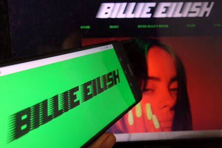 KONSKIE, POLAND - January 11, 2020: Billie Eilish logo displayed on mobile phone Editorial