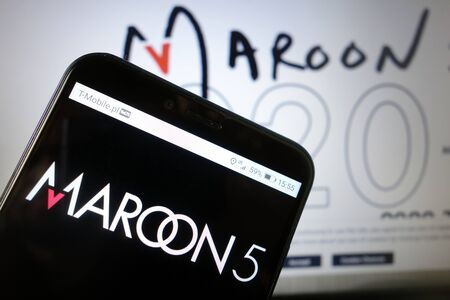 KONSKIE, POLAND - January 11, 2020: Maroon 5 band logo displayed on mobile phone