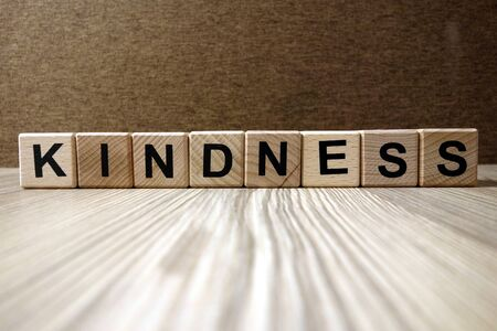 Word kindness from wooden blocks, friendliness and goodness concept Standard-Bild