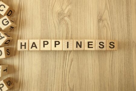 Word happiness from wooden blocks on desk