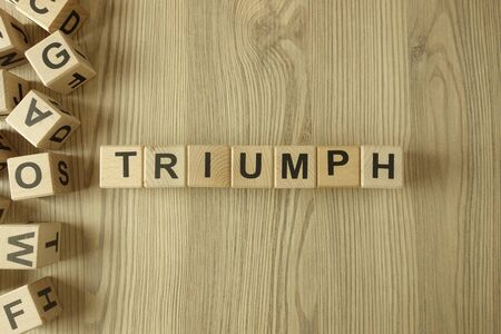 Word triumph from wooden blocks on desk Standard-Bild
