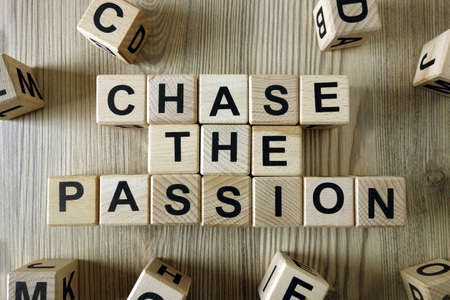 Text chase the passion from wooden blocks, motivation concept 免版税图像