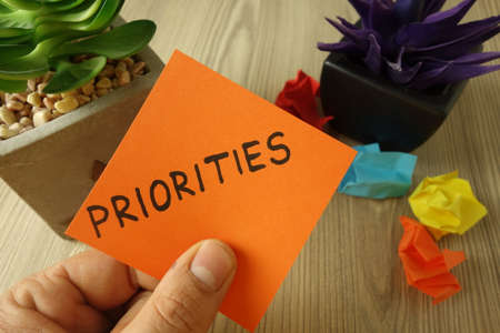 Word priorities handwritten on sticky note, business goal concept