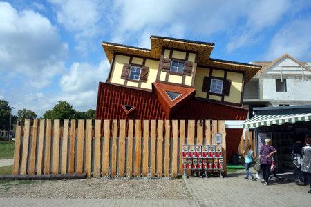 KARWIA, POLAND - August 26, 2020: A house upside down