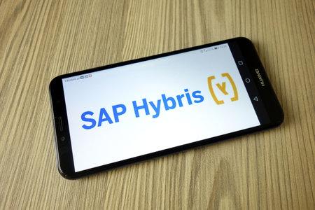 KONSKIE, POLAND - November 04, 2020: Hybris company logo on mobile phone 新闻类图片